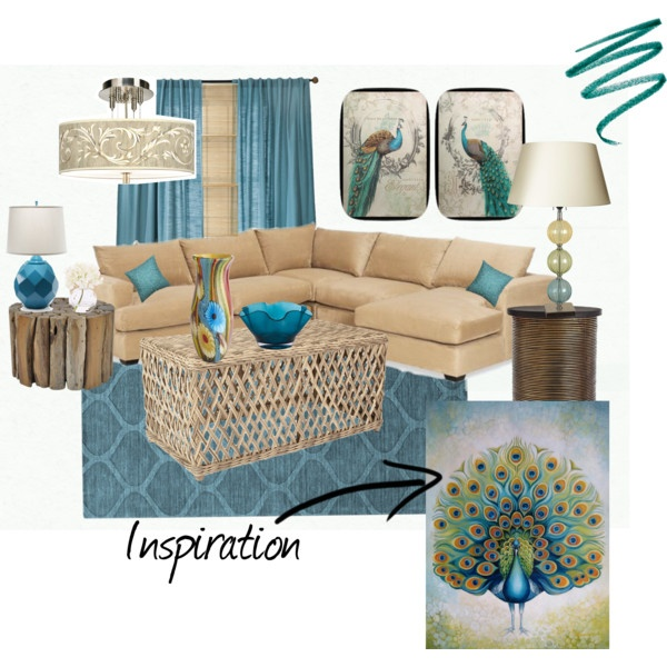 """Nature Inspired Turquoise Living Room"" by lynncat123 on Polyvore"