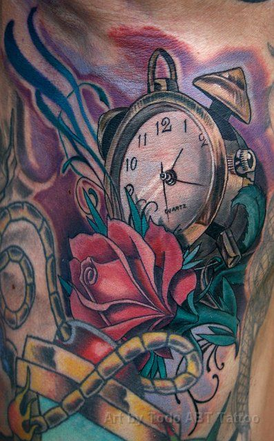 Clock And Rose By Todo Abt Tattoo Pictures