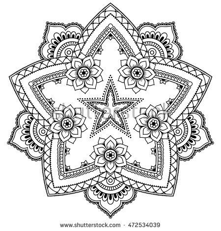 henna tattoo mandala in mehndi style pattern for coloring book hand drawn vector illustration