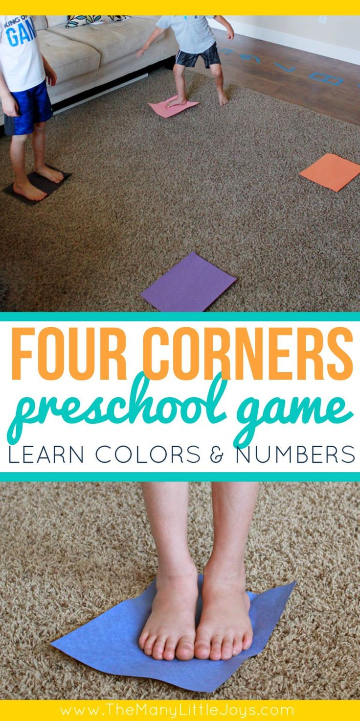 Four Corners Preschool Game about Colors | Gym games for ...