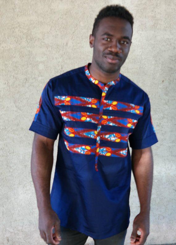 Chemise sans col, chemise imprimé africain, chemise rayée