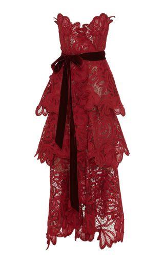 Strapless Tiered Lace Gown by Oscar de la Renta | Moda Operandi (10,900)