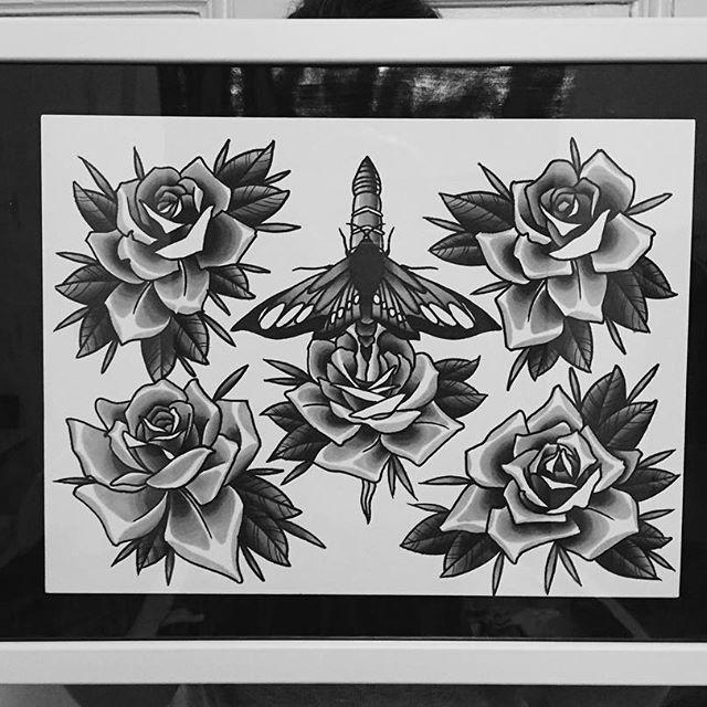My first tattoo flash! #tattooflash #tattooapprentice #tattooapprenticeship #neotraditionaltattoo #neotraditionalrose #neotraditionalflash #flash #rosetattoo @rosetattoos_ #vsco #picoftheday #instadaily