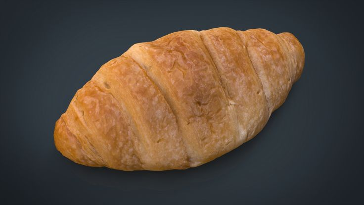 Realistic Croissant 3D Model Download | fbx obj mb 3ds - 3D Squirrel