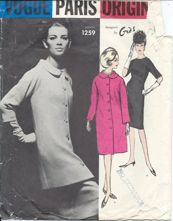 Vintage item from the 1960s ( hard to find pattern ) Vogue Paris Original - Coat: cut pattern Designed by Gres Circa: 1960s sz 10 bust 31 hips 33
