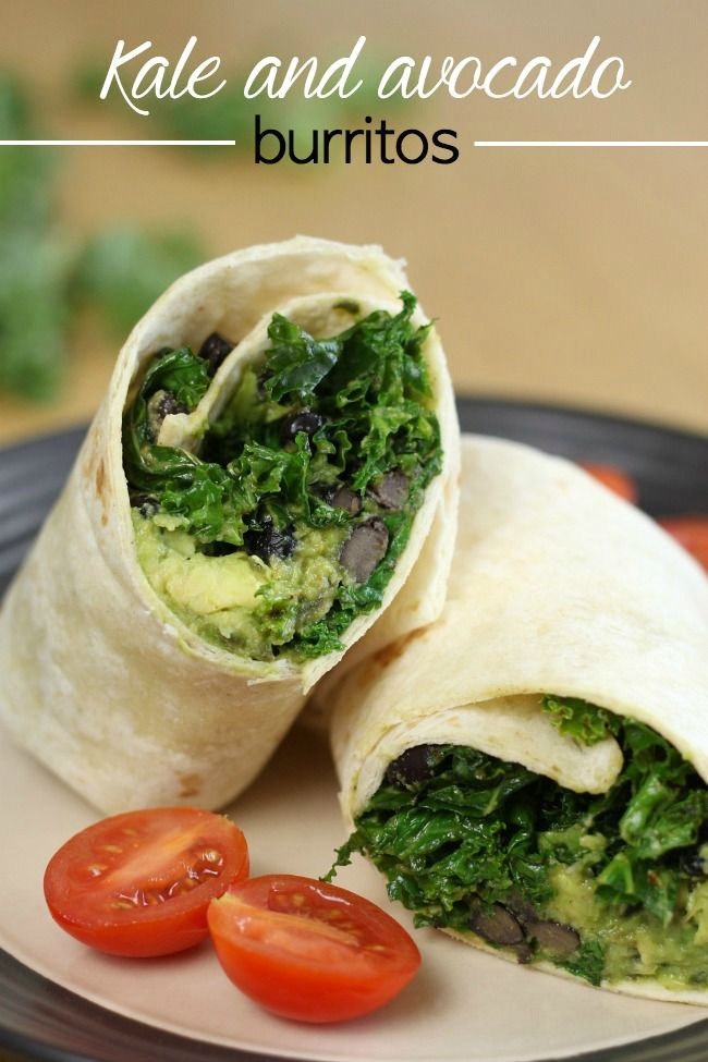 Kale and avocado burritos with black beans