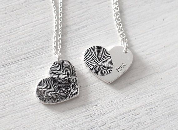 Actual Fingerprint Heart Necklace - Personalized Fingerprint Necklace - Memorial Gift - Sympathy Gift - Mother's gift PN21