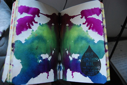 Drip something here, close the book and make a print. From Wreck This Journal