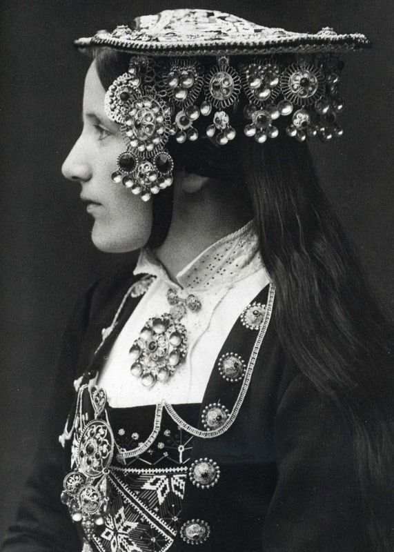 A Norwegian Bride wears a silver wedding crown by Per Braaten 1935