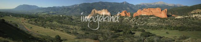 """""""Garden of the Gods - Panorama"""" by Chris Wolters Photography, Missouri // Panorama of the """"Garden of the Gods"""" in Colorado Springs with the Rocky Mountains in the background. // Imagekind.com -- Buy stunning, museum-quality fine art prints, framed prints, and canvas prints directly from independent working artists and photographers."""