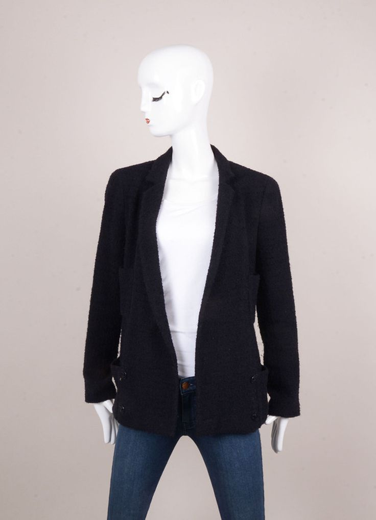 "Navy Blue Textured Knit Double Breasted ""CC"" Button Belted Jacket"