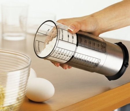 Adjust-A-Cup, 2-Cup by KitchenArt Pro: To use, simply slide the outer sleeve until it reaches the desired measurement, add the needed ingredient, position it over the mixing bowl, and push. The inner plunger ejects even hard-to-release ingredients such as thick peanut butter, gooey cornstarch, and sticky honey with ease. In addition, it can be used to measure several ingredients at once. Marked with pints, cups, ounces, and millimeters. #Measuring_Cup #Adjust_A_Cup
