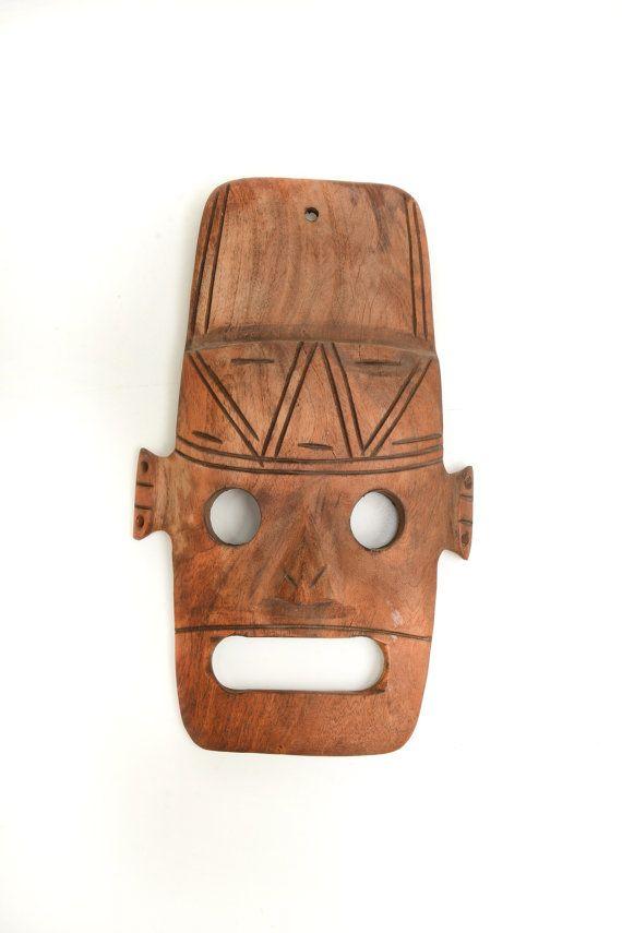 Mascara azteca de madera máscara americana máscara por Brocantebcn