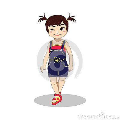 Illustration of cute winking little girl wears blue rousers, red singlet  and slipper in summer vacation