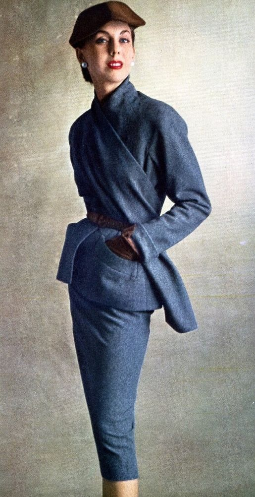 1950-51 - Grey flannel suit by Dior Photo Irving Penn October 1950 jewelry woman - http://amzn.to/2iQZrK5