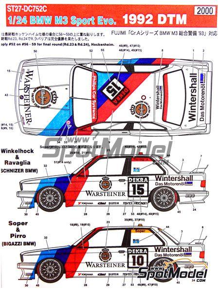 BMW M3 Sport Evo - DTM 1992 | Decals in 1/24 scale manufactured by Studio27 (ref. ST27-DC752C)