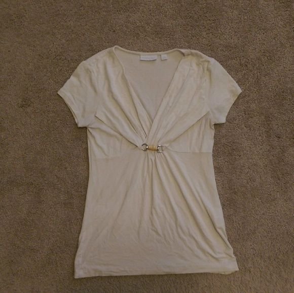 NY&Co cream top with wooden toggle Cream short sleeve top with wood accent New York & Company Tops Tees - Short Sleeve