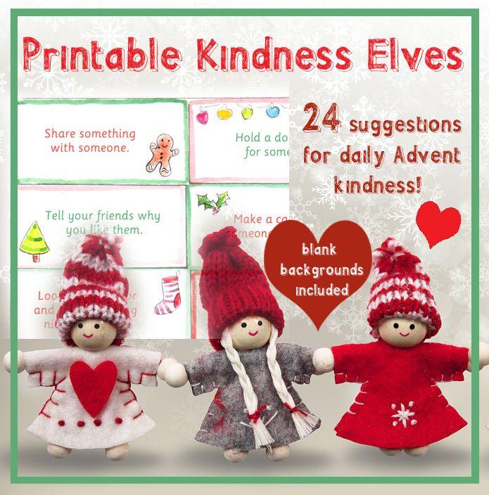 Kindness elves printable christmas kindness advent random acts children schools Download at rosiejohnsonillustrates.com