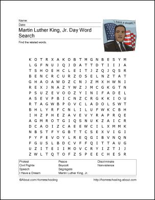 8 Printout Activities for Martin Luther King Day: Martin Luther King, Jr. Wordsearch