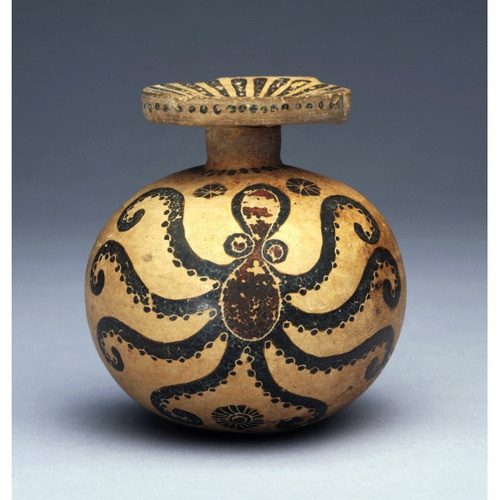 Oil Bottle (aryballos) With An Octopus Ca. 625–600 B.C