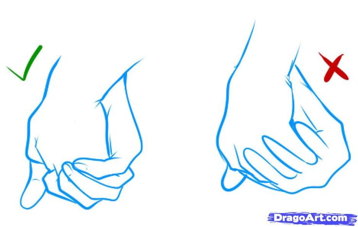 Step 3. How to Draw Holding Hands