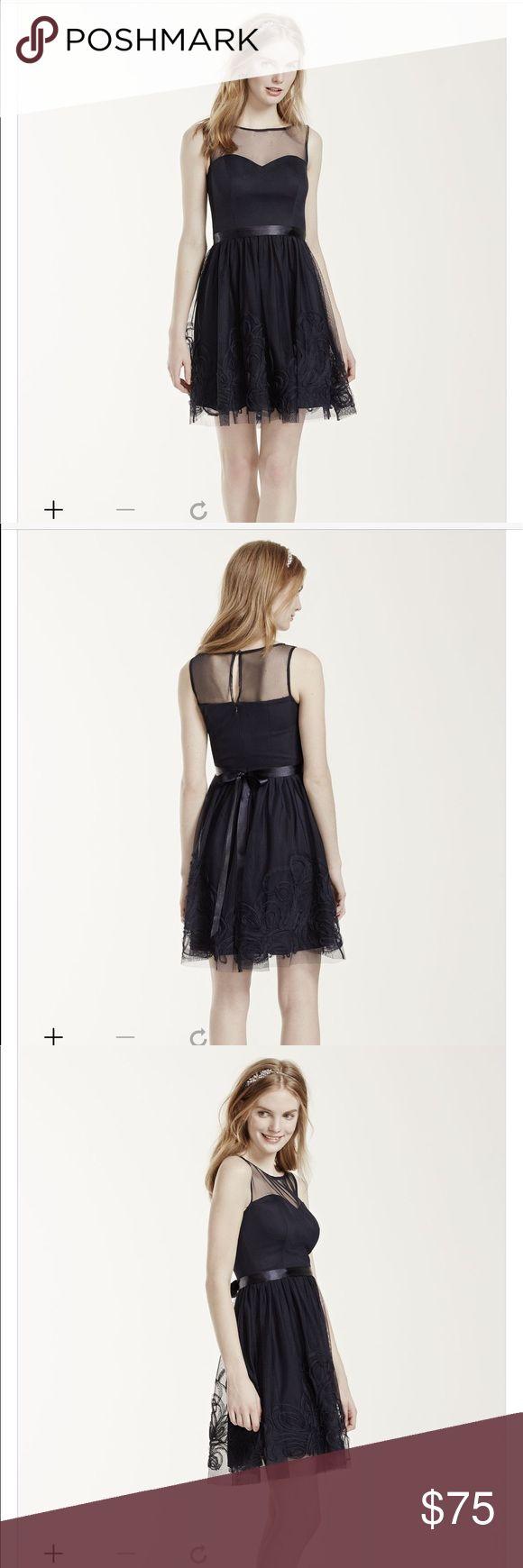 Sleeveless Illusion Neckline Dress with Satin Belt Brand new never worn. Beautiful deep navy color. David's Bridal Dresses Mini