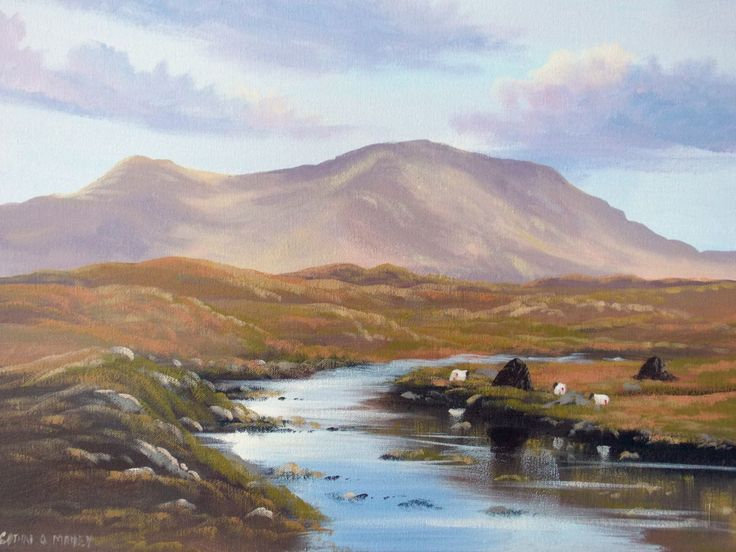 recess  bogland - Painting,  2x16x20 in ©2014 by Cathal O Malley -                                                              Realism, Canvas, Landscape, bogland, connemara, co galway, painting
