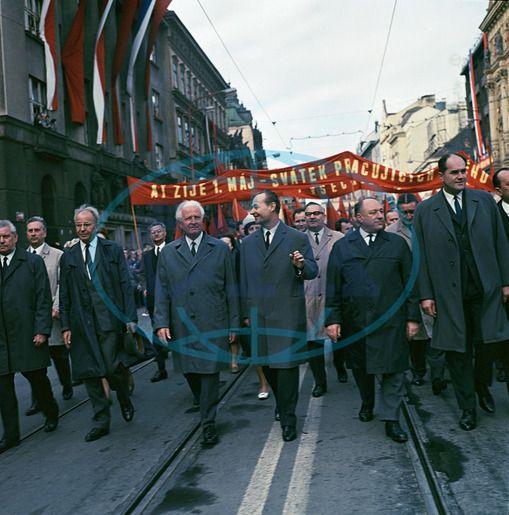 Prague, 1.máj 1968 May Day Parade, Gustav Husak, Ludvik Svoboda, Alexander Dubcek, Frantisek Kriegel, John Filler, homme politique