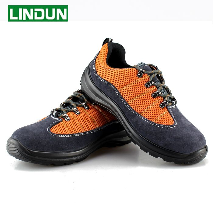 men fashion color steel toe dress shoe breathable mesh work safety shoes non-slip plate bottom outdoor protective footwear lace