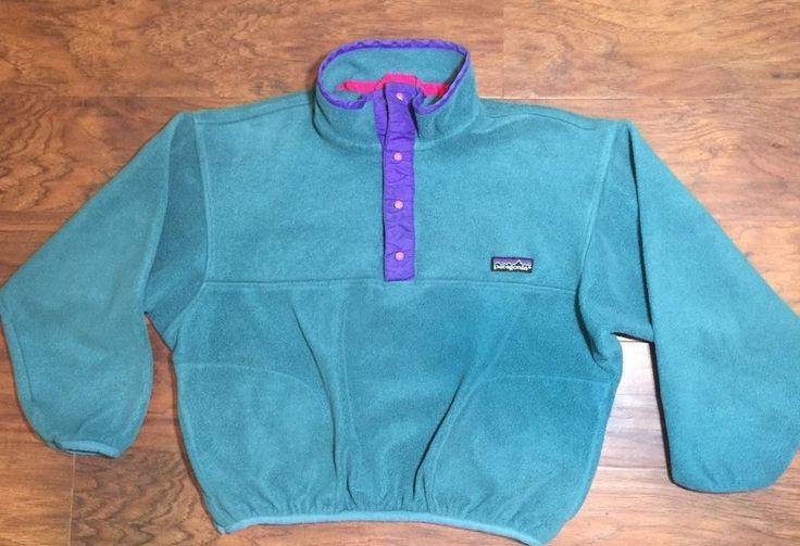 Patagonia Kids Synchilla Snap T Fleece Pullover Vintage Green Purple Sz 8 10 | eBay