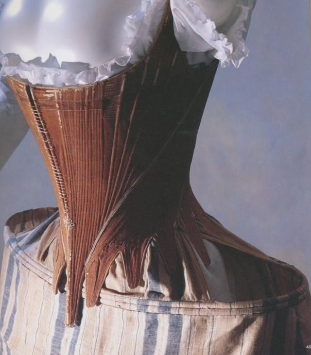 Stays in brown cotton satin with 162 bones inside c. 1760-1770 (Via KCI Digital Archives)