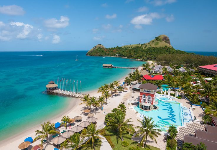 Sandals Grande St. Lucian is located on its own peninsula, with the Rodney Bay on one side and the Atlantic Ocean on the other. | Sandals Resorts | St. Lucia