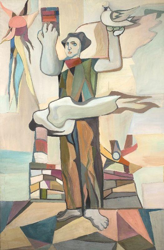 """Tadeusz Kantor, """"Odbudowa i pokój"""""""", 1949, wł. Muzeum Narodowe w Warszawie, rojekt gobelinu"""