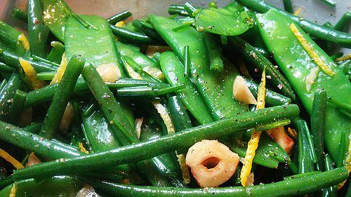 Green bean, snow pea & hazelnut salad - copy of my fav ottolenghi recipe. The original uses hazelnut oil in place of sesame oil.