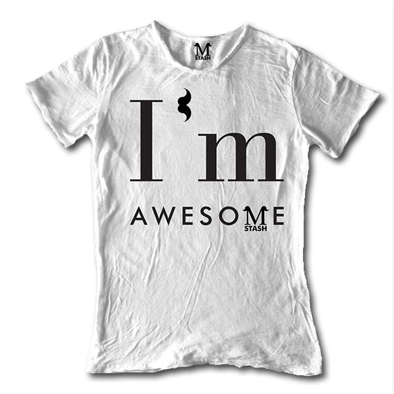 M01-11A // I'M AWESOME // round neck tee flaming fabric // 100% cotton made in Italy // #mstash #tshirt #mustache
