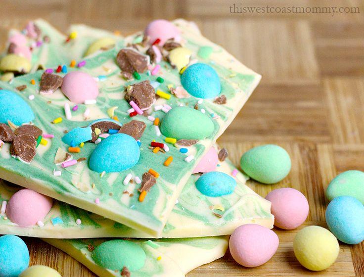 White chocolate and mini eggs make beautiful chocolate bark for Easter!