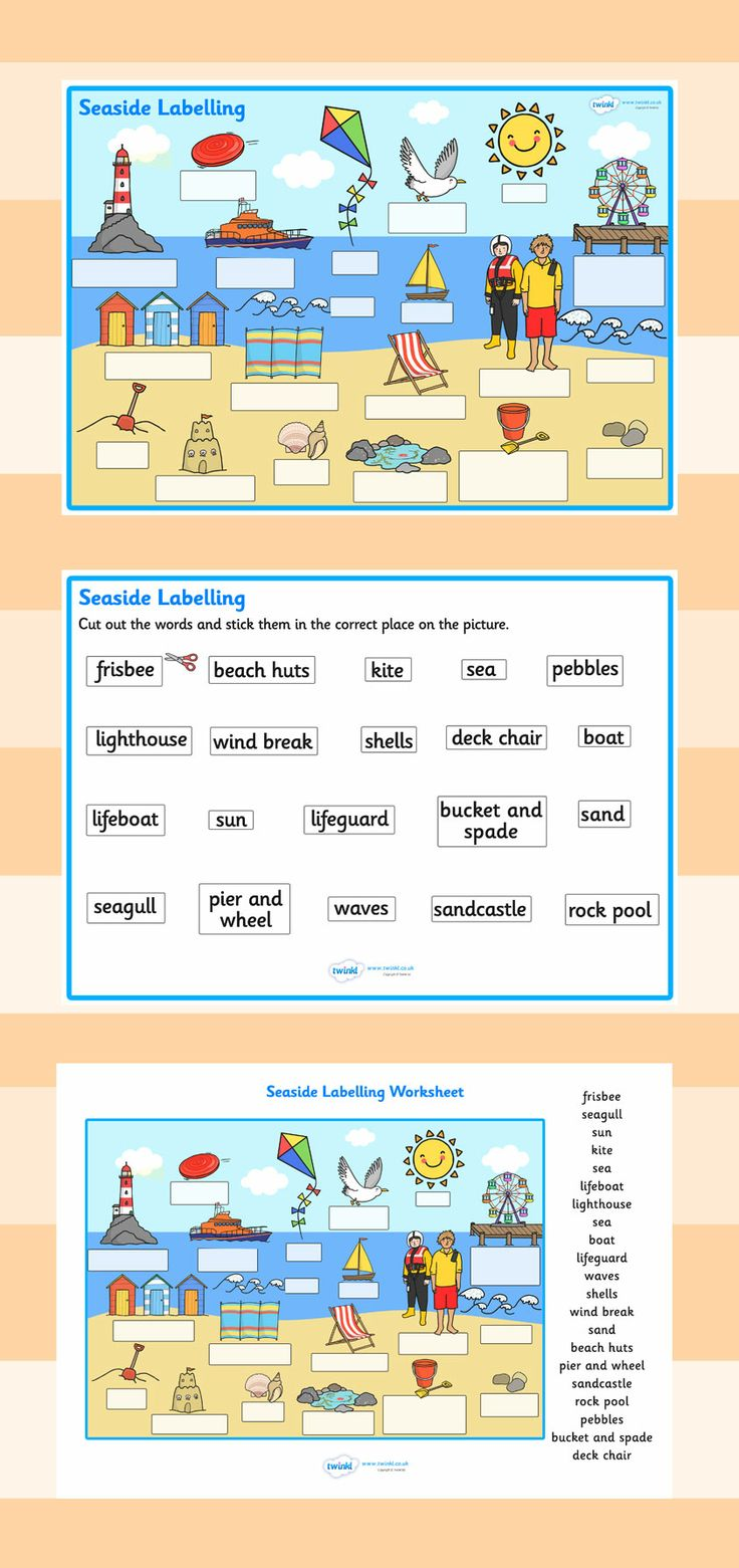The Seaside- Scene Labeling Worksheets