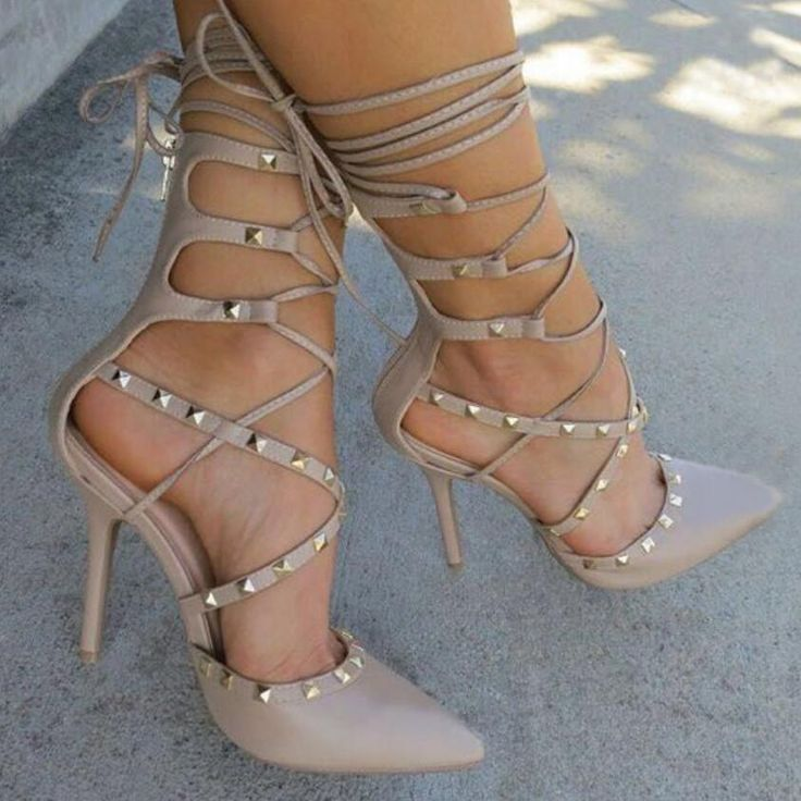 Roman Sandals Women Pumps European New Style Booties Ladies Sexy Hollow Cross Lace Up Rivets Stiletto High Heels Shoes Woman-in Women's Pumps from Shoes on Aliexpress.com | Alibaba Group