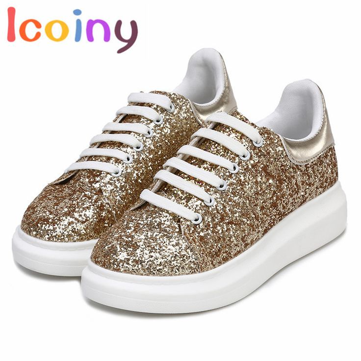 Casual Shoes Woman Lace-up Loafers 2017 Glitter Flats Shoes Women Female Creepers zapatos mujer sapato feminino schoenen schuhe