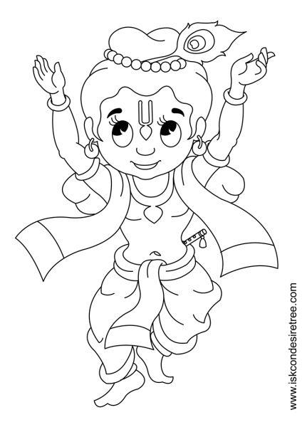 krishna pages for coloring - photo#17