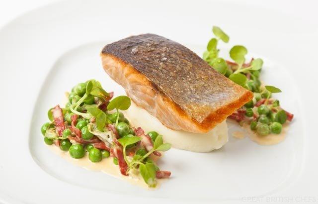 Organic Salmon Fillet Recipe with English Peas & Chorizo