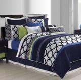 Sunham bedding fiji navy blue white lime green 12 piece - Navy blue and green bedding ...