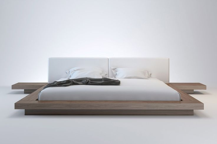MODLOFT Worth Bed in walnut or wenge with white or grey leather headboard. $1,400