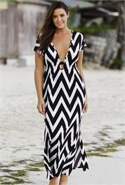 Плюс Размер черный / белый Шеврон Макси платье