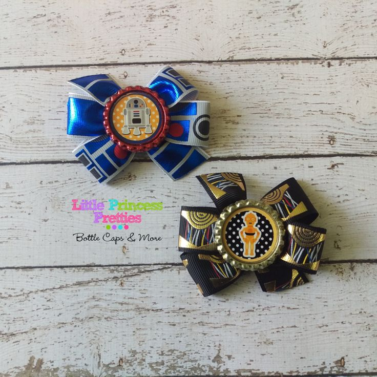 silver rings uk Star Wars R2D2 C3PO Pinwheel Bows Piggy Bows Pigtail bows 3 inch Boutique Bows girls infants toddlers geeky gamer   pinned by pin4etsy com