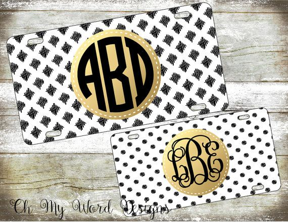 Hey, I found this really awesome Etsy listing at https://www.etsy.com/listing/257435345/monogram-car-tag-personalized-license