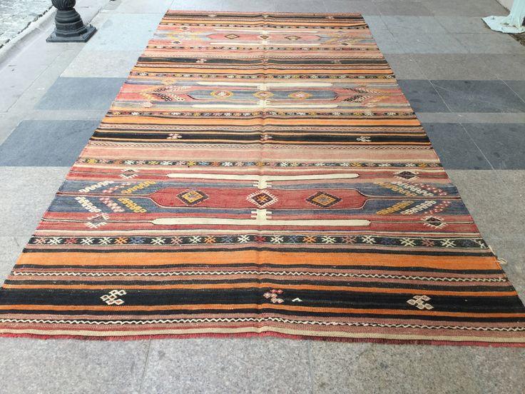 Turkish Kilim Rug,4'8x9'7ft,Stripe  Kilim,Boho Kilim,Home & Living Rug,Floor Rugs,Area Rug,Kilim Rug,297x147cm,Anatolian Turkish Kilim K-253 by EclecticRug on Etsy