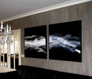 """Saatchi Art Artist Nelly Van Nieuwenhuijzen; Painting, """"Diptych Waves (SOLD)"""" #art"""