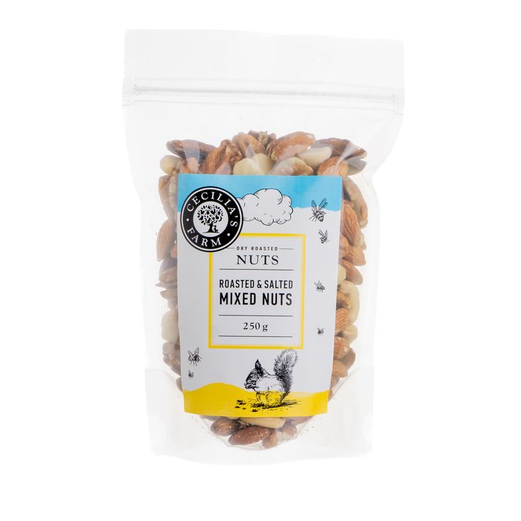 Using a traditional Middle Eastern method, our nuts are slow roasted in a bed of course salt to preserve their natural flavour and texture. Our mixed roasted and salted nuts include cashews, almonds, macadamias, and pecan nuts, making for a wonderful mixture of great nut tastes from around the world. http://ceciliasfarm.co.za/product/roasted-salted-mixed-nuts/