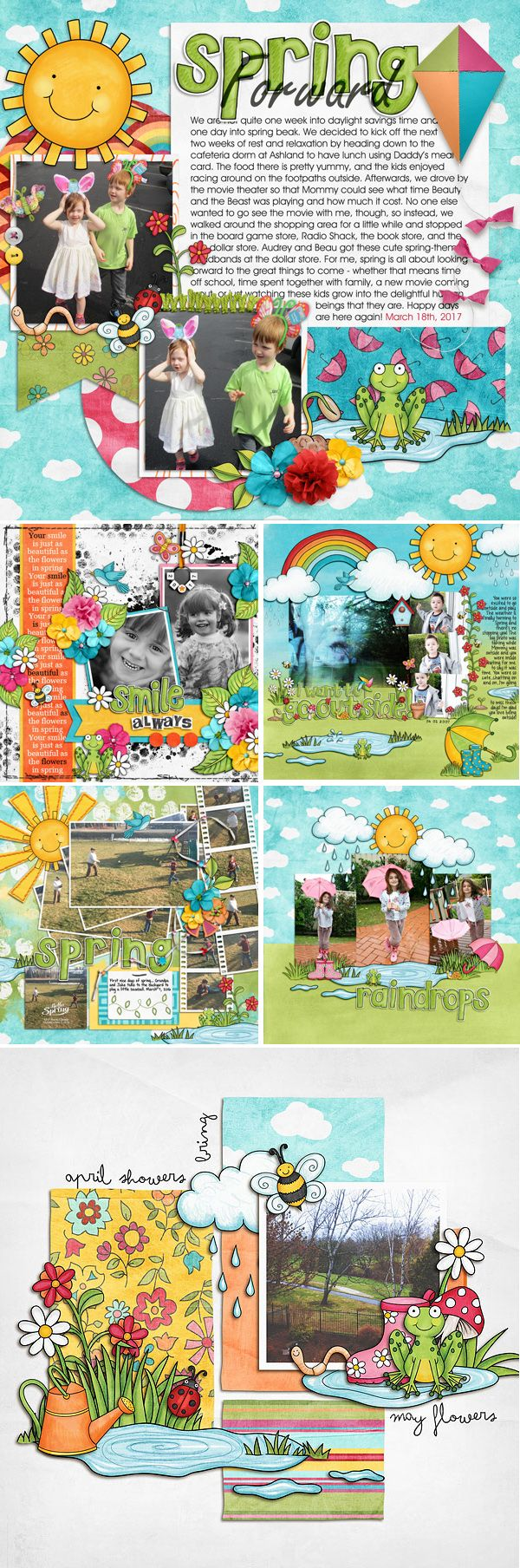 """Spring themed scrapbook pages created with """"Springity Spring"""" digital scrapbooking kit by Kate Hadfield Designs 